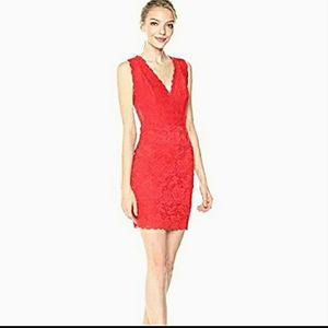 NWT Guess Scroll Lace Dress Fiery Red